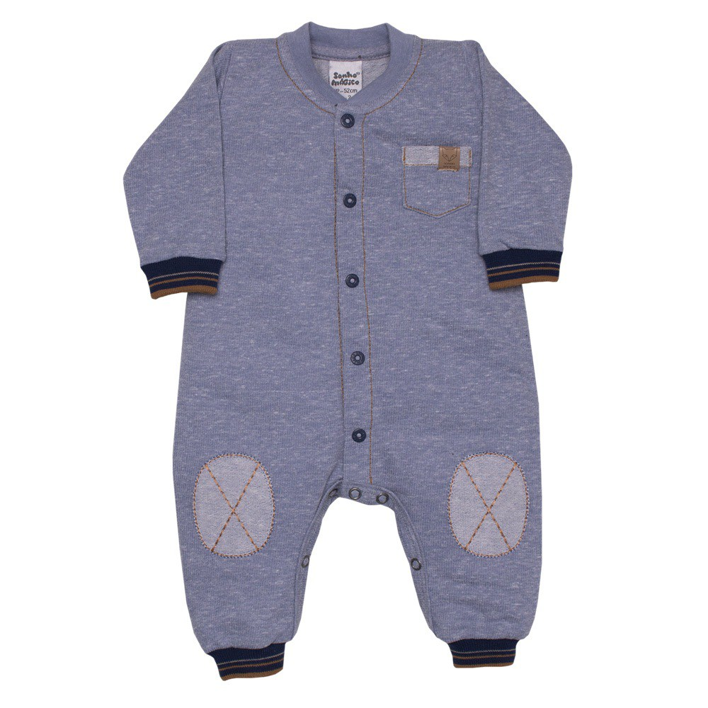 Macacão Longo Moletom Sport Baby Azul Sonho Mágico