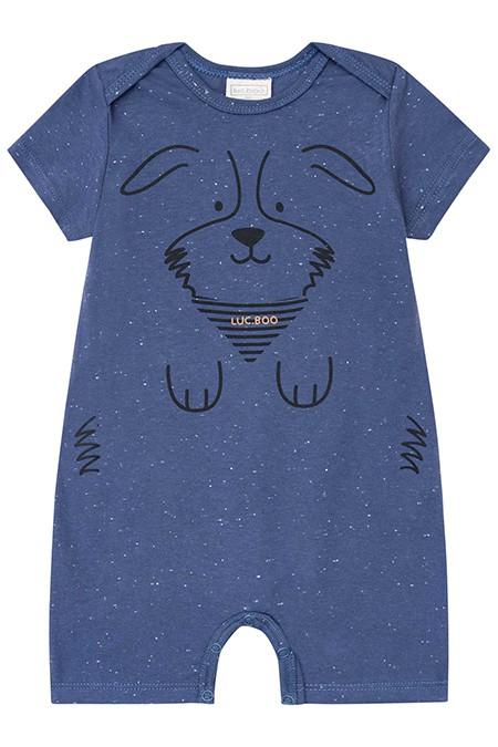 Macacão manga Curta em Malha Botone Azul - Luc.Boo