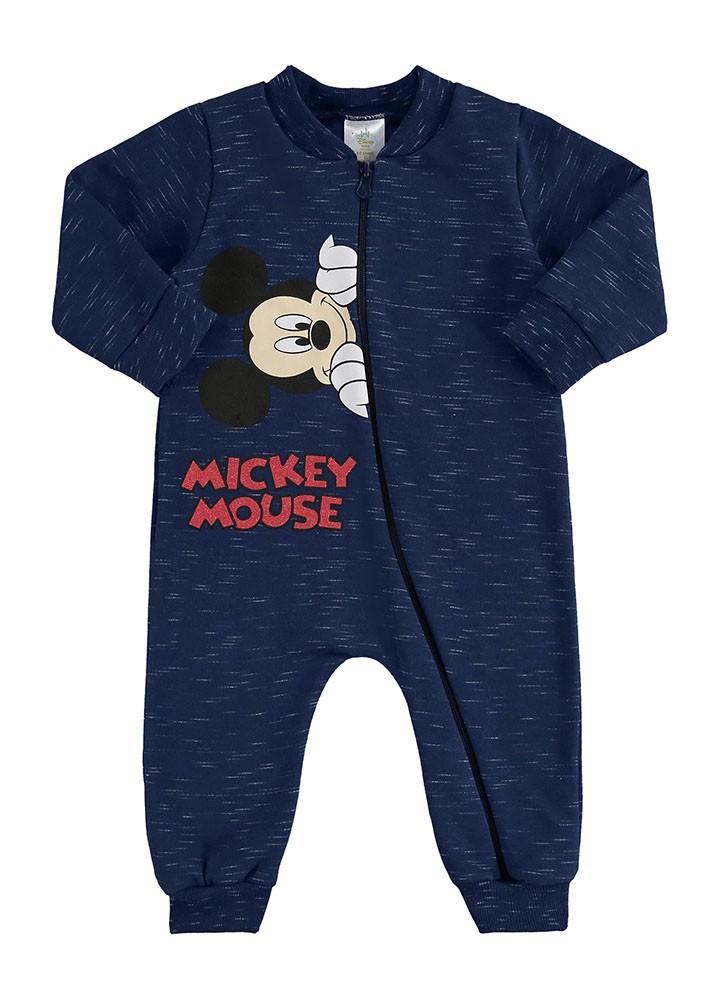Macacão Manga Longa Mickey Azul Marinho Marlan