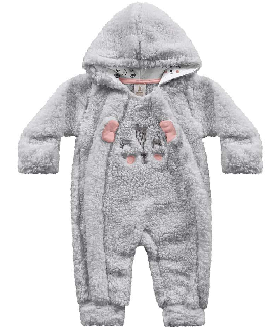 Macacão Manga Longa Peludinho Cinza Kiko Baby