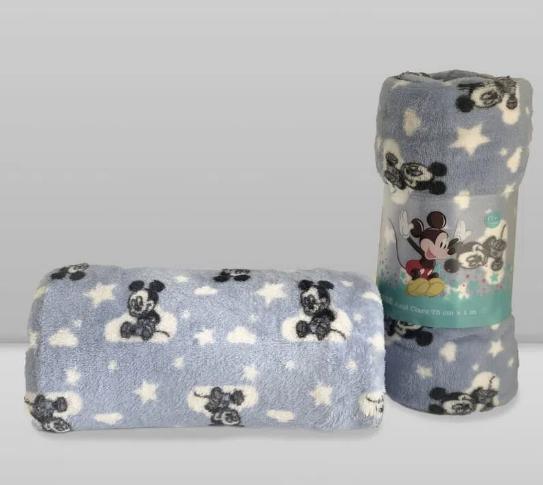 Manta Baby Disney Mickey Azul Claro Laço Bebê