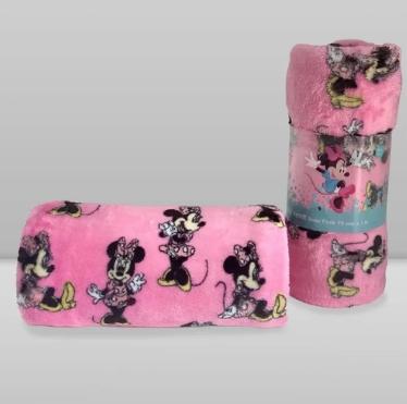 Manta Kids Disney Minnie Rosa Chiclete Laço Bebê