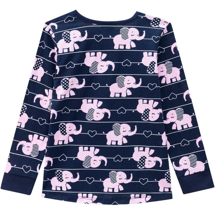 Pijama Brilha No Escuro Blusa e Calça Elefantinho Azul Marinho Kyly