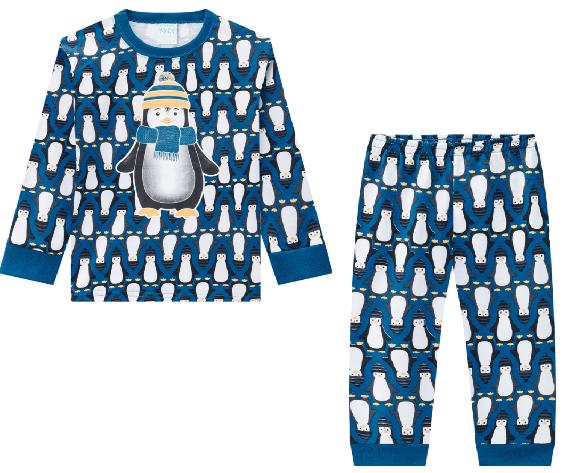 Pijama Brilha No Escuro Camiseta Manga Longa E Calça Pinguim Azul Petróleo Kyky