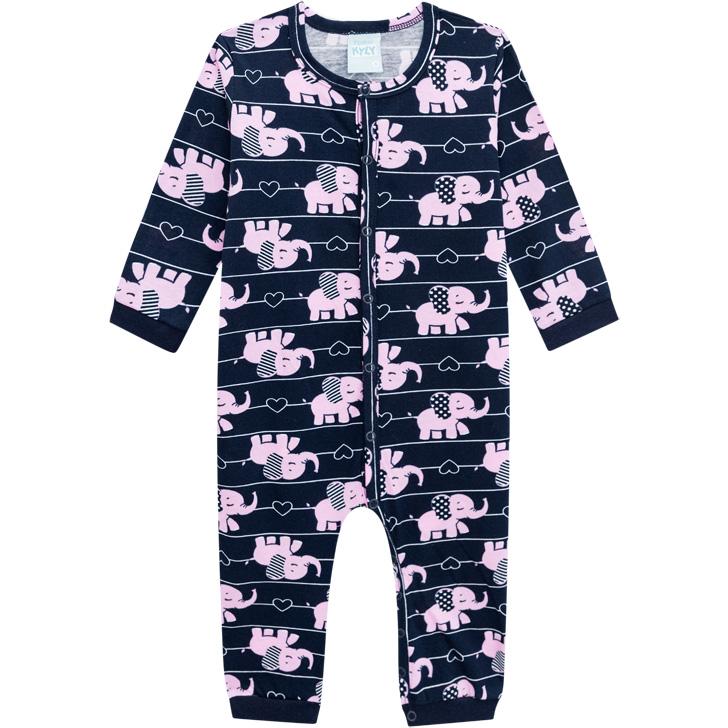 Pijama Macacão Malha Leve Brilha No Escuro Elefante Preto Kyly