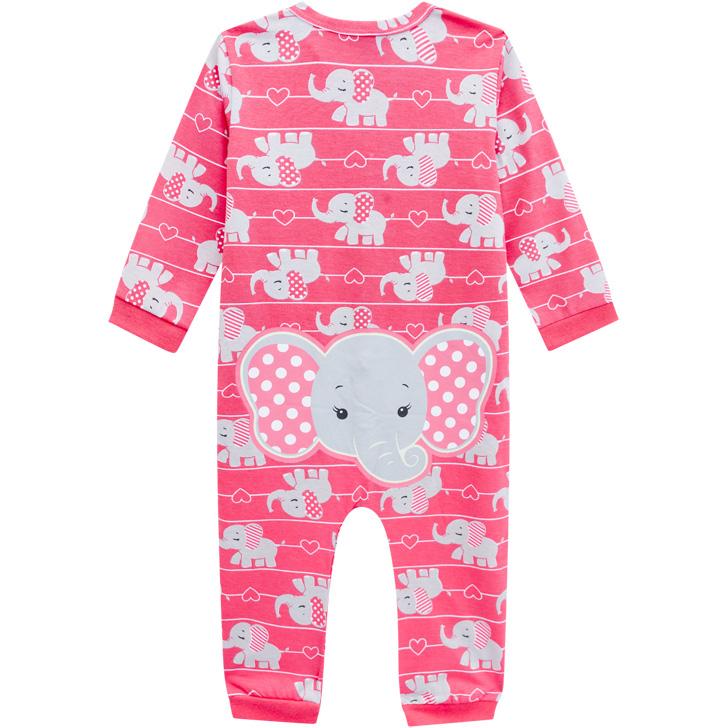 Pijama Macacão Malha Leve Brilha No Escuro Elefante Rosa Kyly