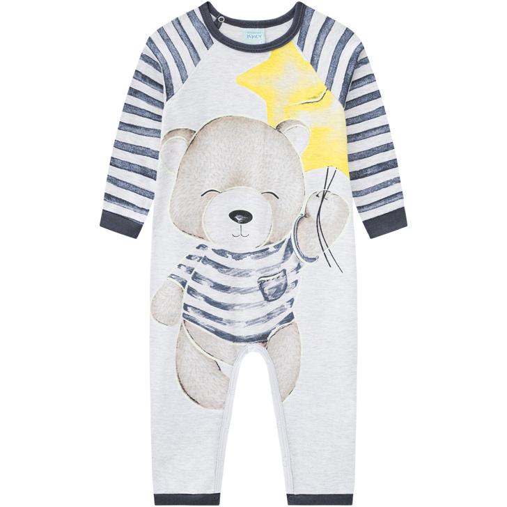 Pijama Macacão Manga Longa Ursinho Cinza Chumbo Kyly