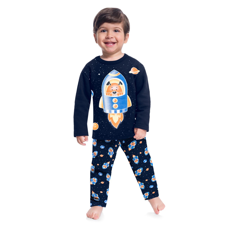 Pijama Manga Longa Camiseta e Calça Cachorrinho No Foguete Azul Marinho Kyly