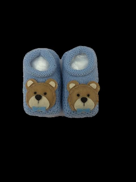 Sapatinho Crochê Especial- Ursinho Com Gravata Azul Claro Bilu Teteia