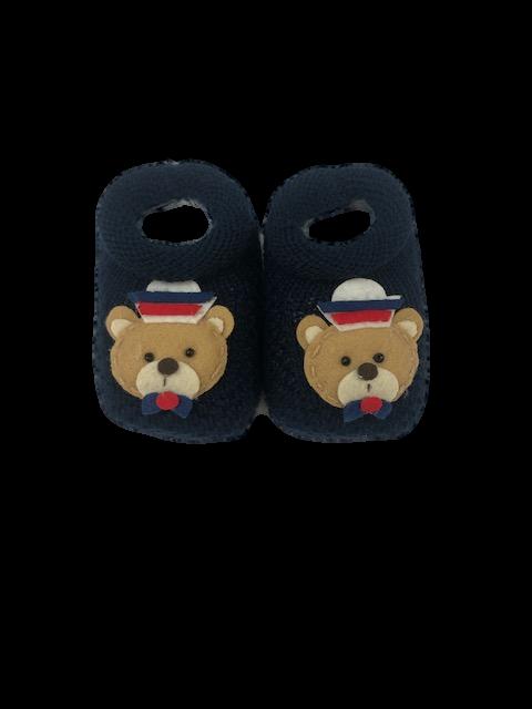 Sapatinho Crochê Especial-Ursinho Marinheiro Azul Marinho Bilu Teteia
