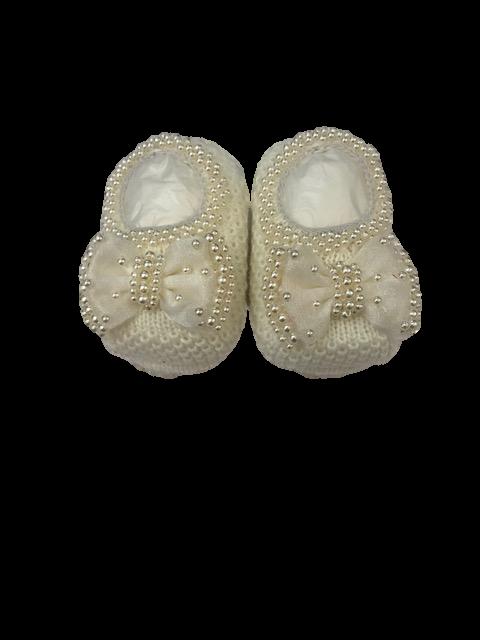 Sapatinho Especial Crochê- Off White Bilu Teteia