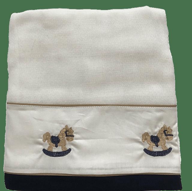 Toalha Fralda Cavalinho De Pau Azul Marinho Bilú Tetéia