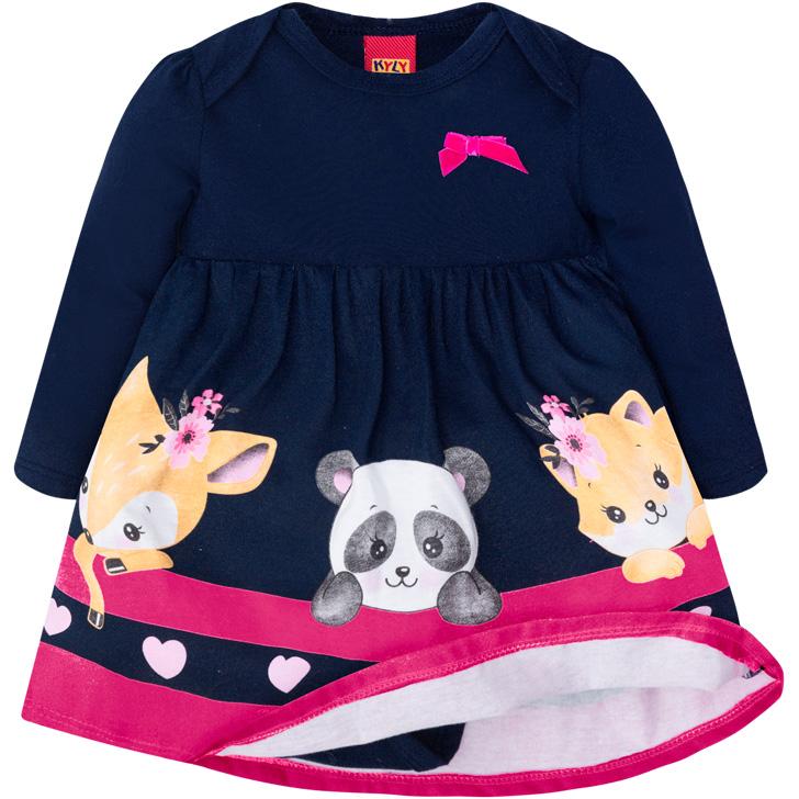 Vestido e Body Embutido Bichinhos Azul Marinho/Pink Kyly