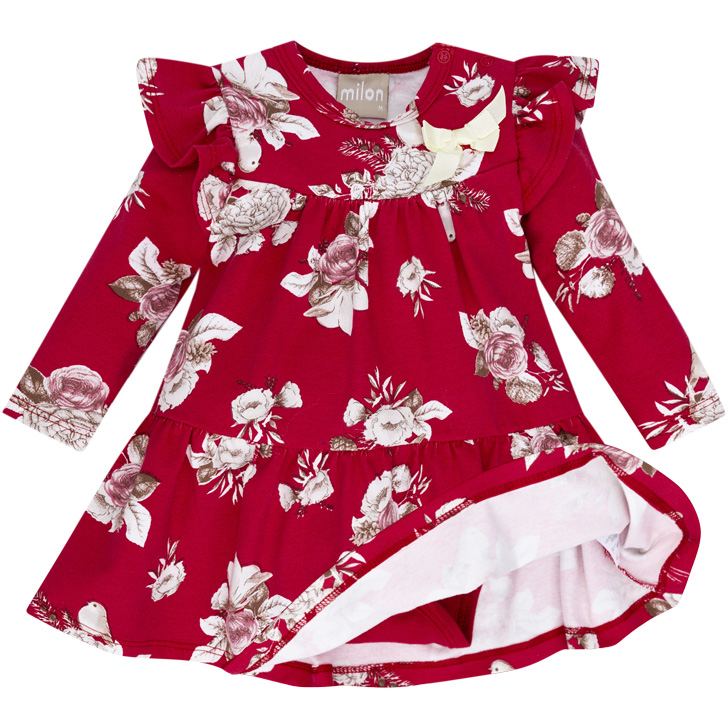 Vestido Manga Longa Com Body Embutido Floral Vermelho Milon