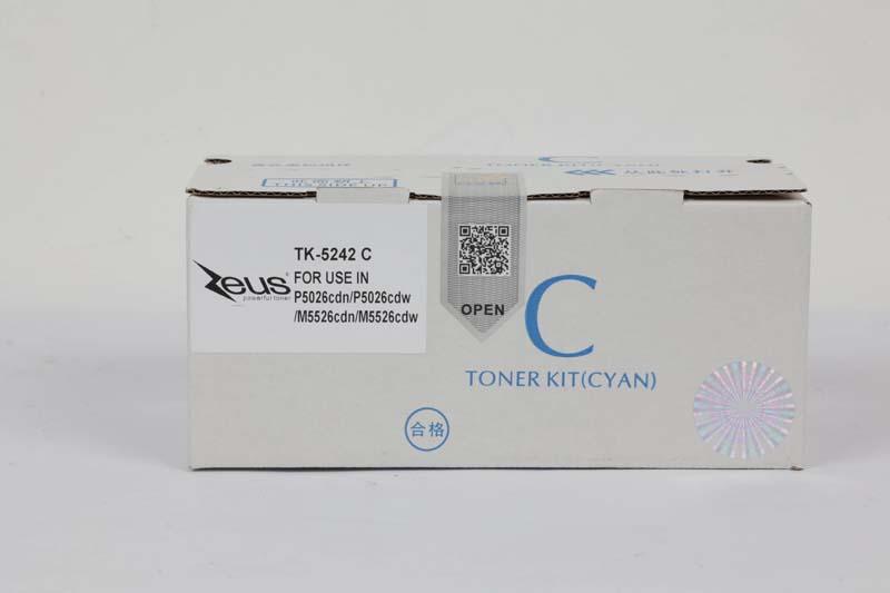 Toner Compatível Zeus TK5242 Cyan p/ Kyocera c/chip - 3k