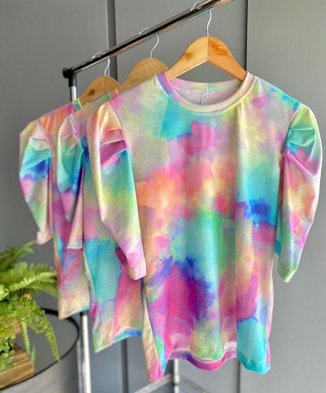T-shirt Tie Dye Mangas Bufantes