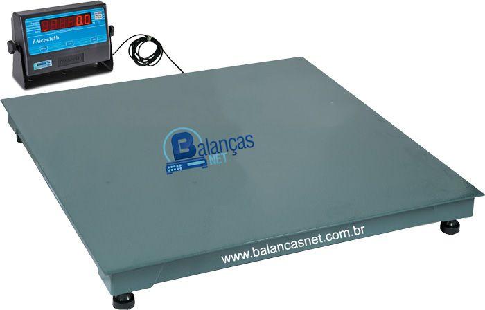 Balança Eletrônica 500kg x 100g Plataforma 1,00x1,00 Inmetro Garantia 01 ano