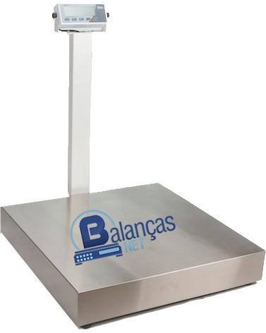 Balança Eletrônica 500kg X 100g Plataforma Inox 70x70 Com Coluna Inmetro