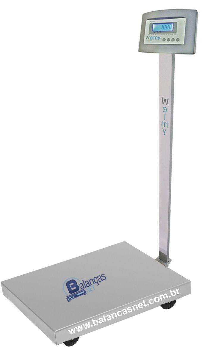 Balança Eletrônica Inox 300kg X 50g Plataforma Inox 50x60 Bateria e Coluna Inmetro