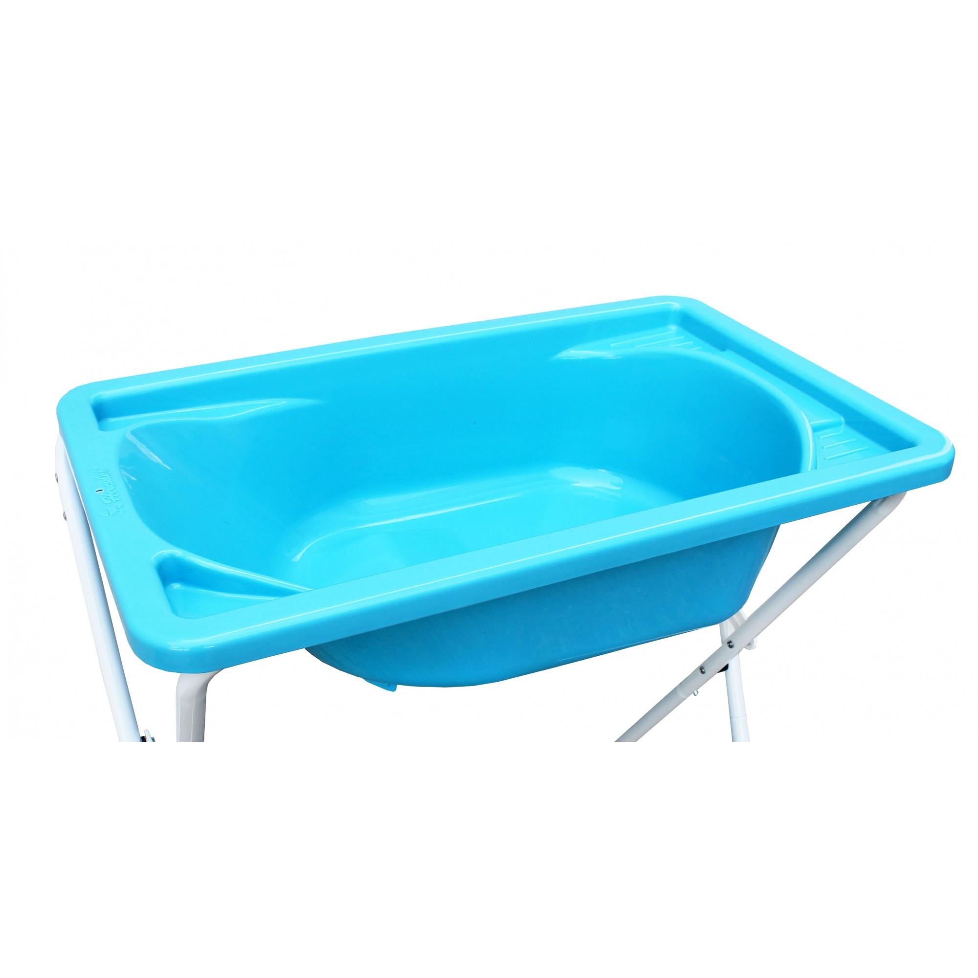 Banheira De Bebê Rígida C/ Suporte Hercules Azul