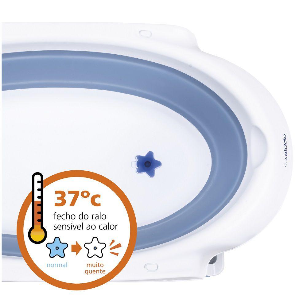 Banheira Portátil para Bebê Jelly Retrátil c/ Sensor de Temperatura Kiddo Azul