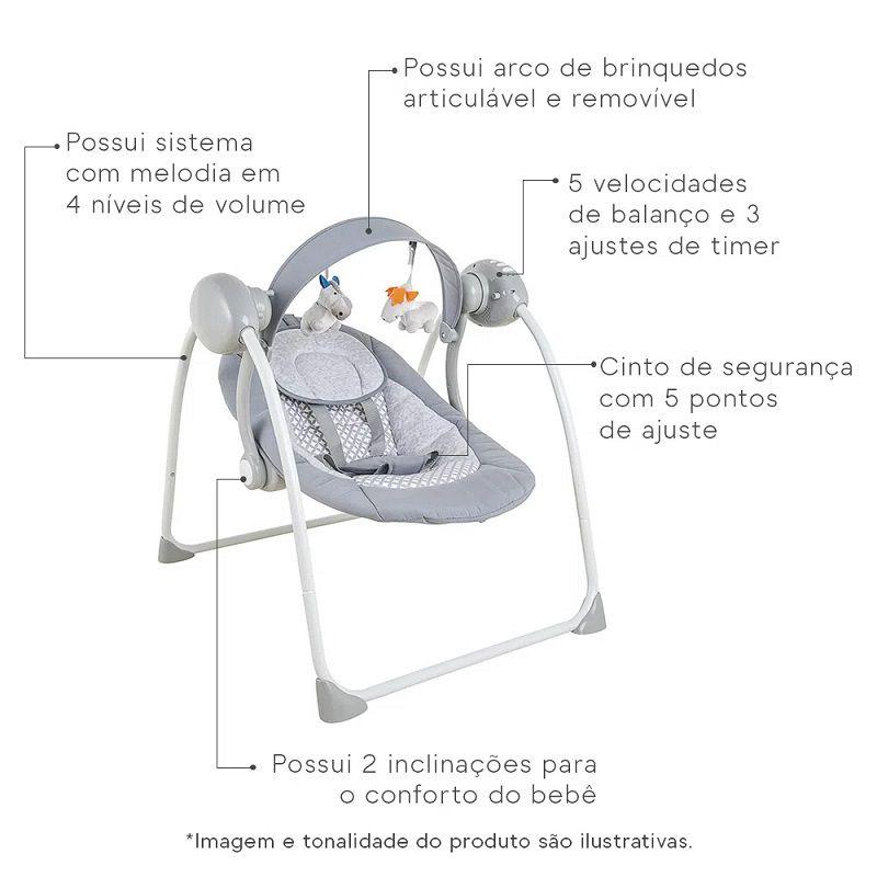 Cadeira De Descanso Bebê Mimo Balanço Musical Kiddo Cinza
