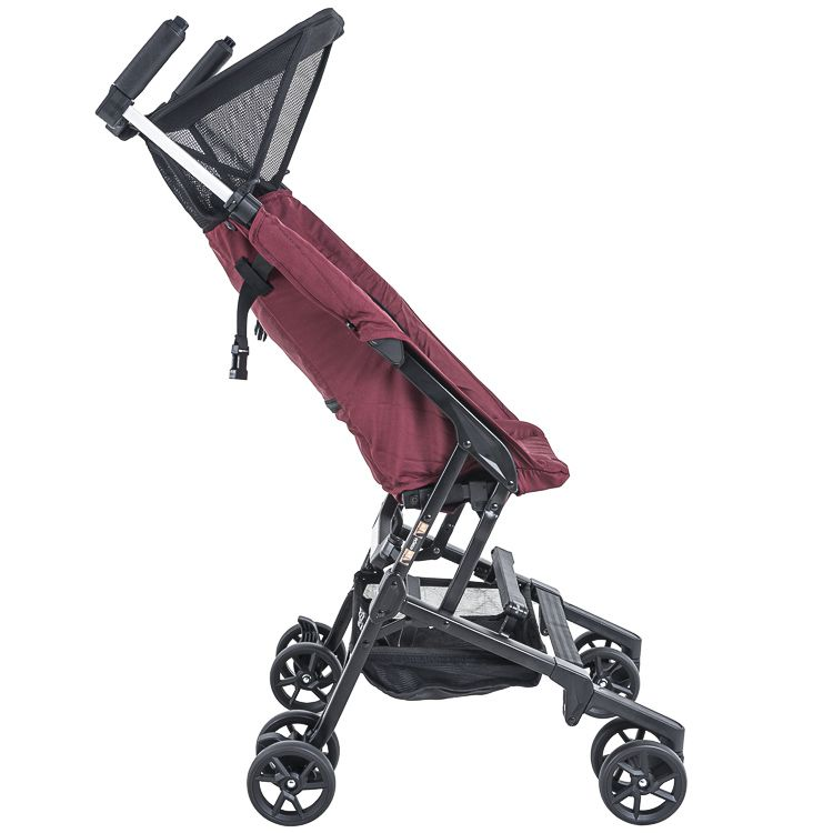 Carrinho De Bebê Passeio Alumínio Nano Portátil Bolsa Preto c/ Vinho Kiddo
