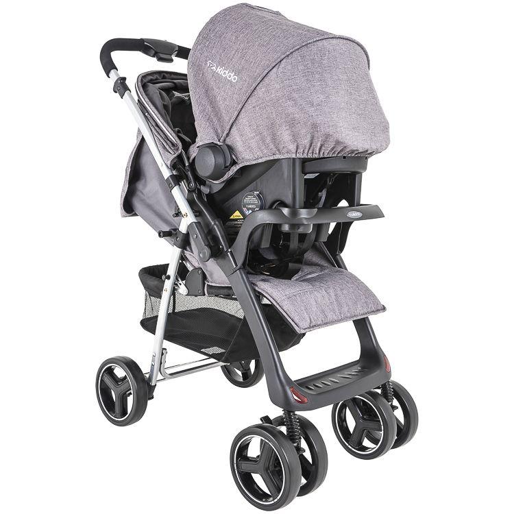 Carrinho Travel System Zap Reversível + Bebê Conforto Cinza Kiddo