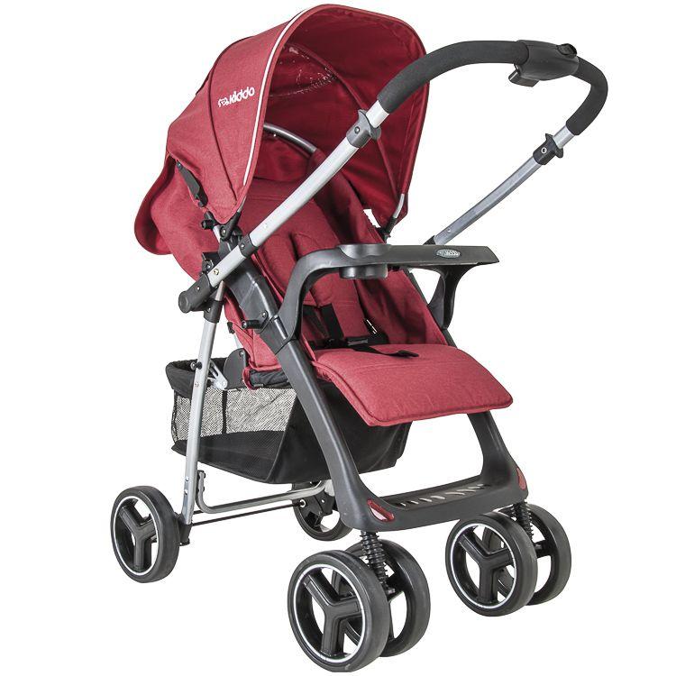 Carrinho Travel System Zap Reversível + Bebê Conforto Vermelho Kiddo