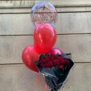 Bouquet Rosas Vermelhas e Bexigas
