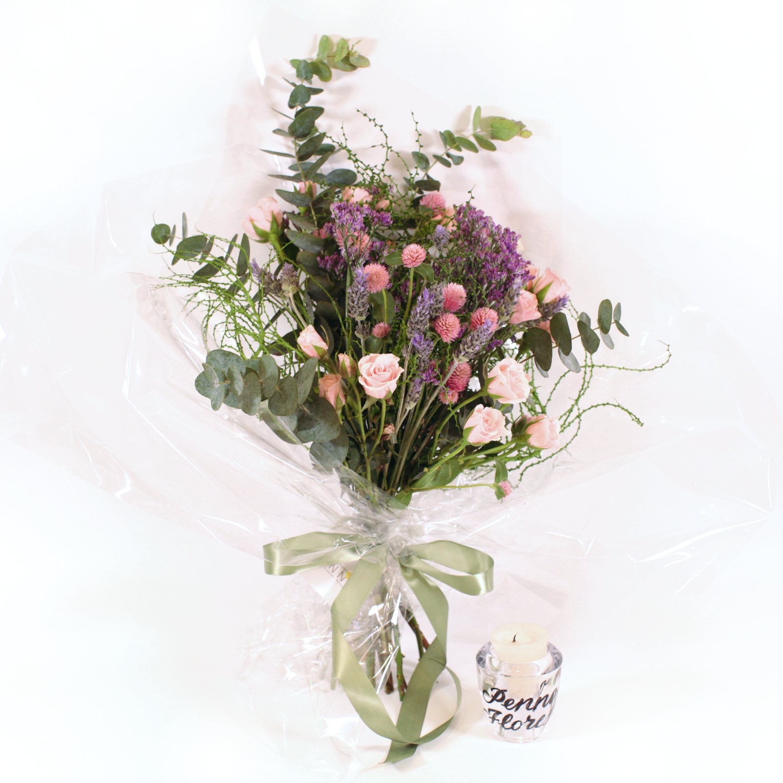 Bouquet Rosa e Lilás com Eucalipto