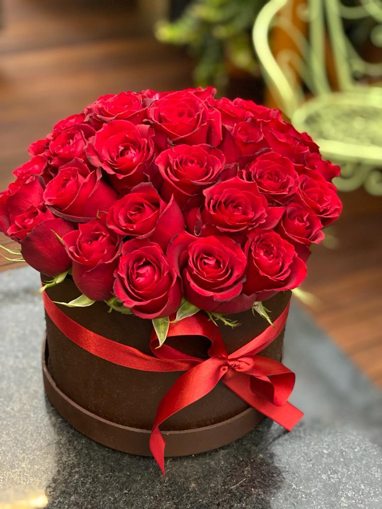 Caixa com Rosas Vermelhas