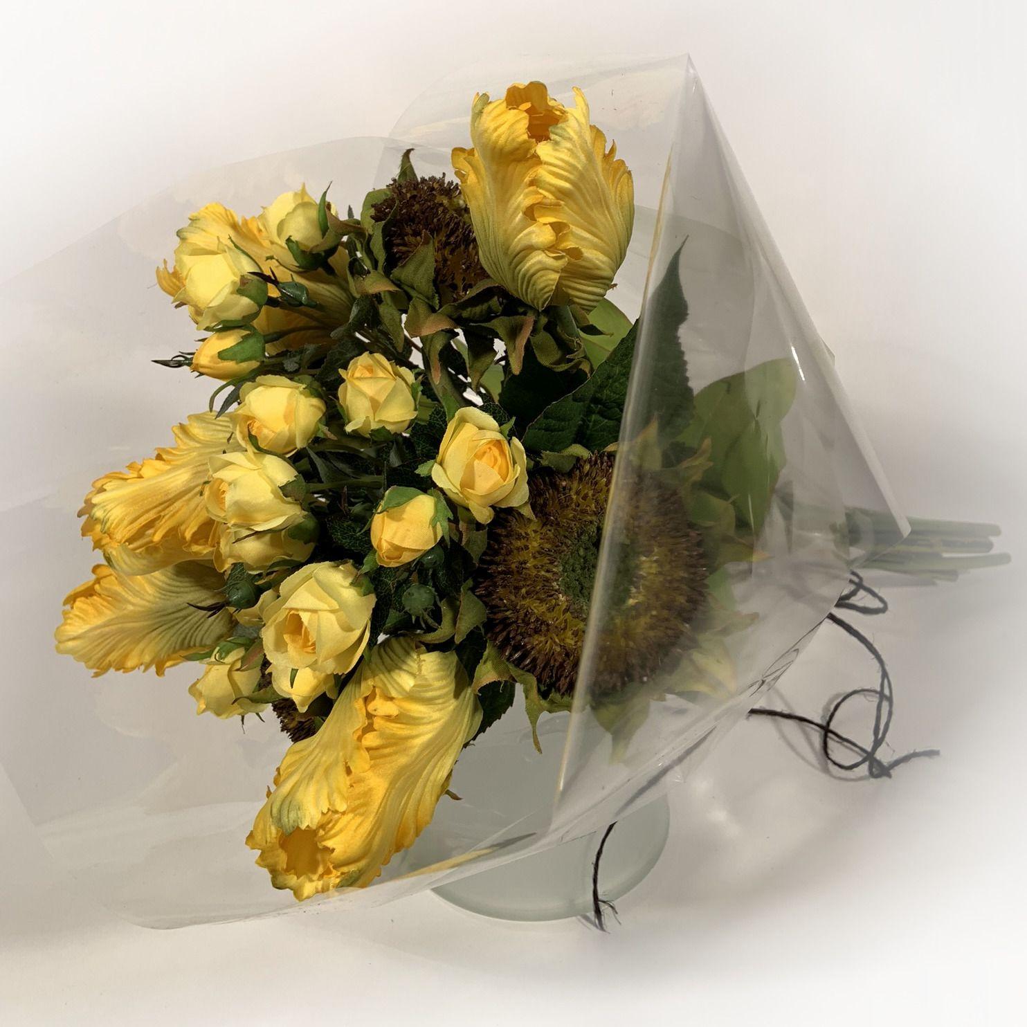Bouquet Tulipas e Rosas Amarelas e Girassóis - Artificial