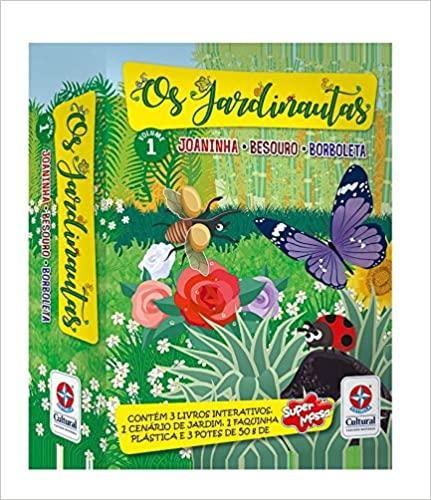 Os Jardinautas Vol. 1 - Joaninha, besouro e borboleta Livro interativo  Conjunto de caixa,  - Book Distribuidora de Livros