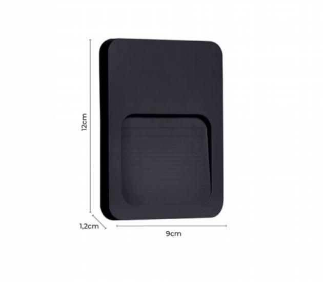 Balizador de Parede Sobrepor Donni Preto LED 2W 3000K IP65 Bivolt 2027 Nodecor