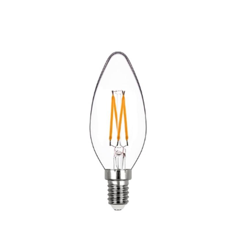Lâmpada LED Vela Lisa Filamento 4W Âmbar E-14 127V Dimerizável STH8361/24 STELLA