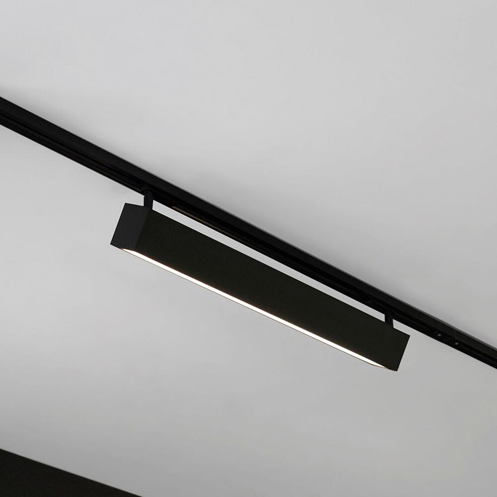 Luminária de Sobrepor Retangular C60cm P/ Trilho C/ Plug Preto LED 15W 3000K Bivolt 460APLED3  Newline