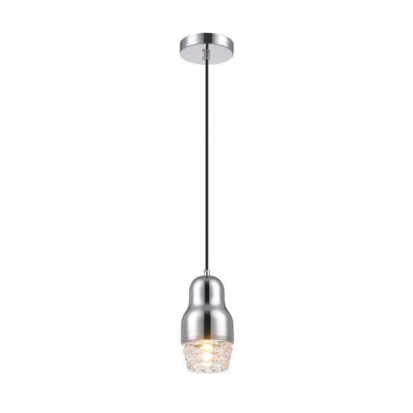 Pendente de Aço Cromado e Vidro Transparente Ø10cm 1x G9 PE037/1.10C Mais Luz