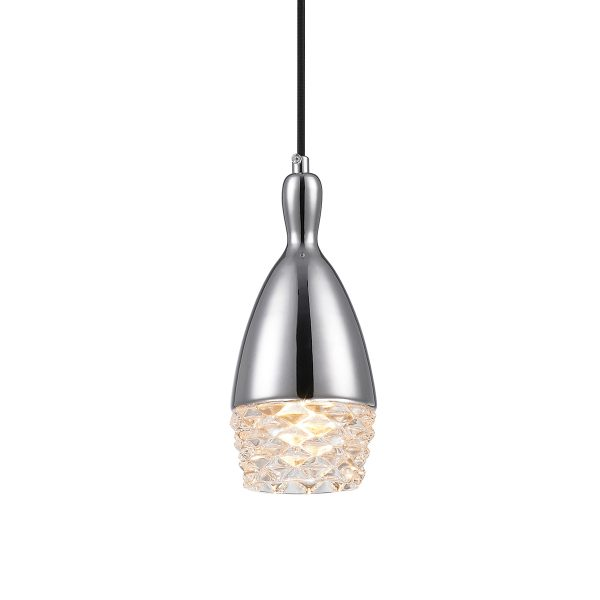 Pendente de Aço Cromado e Vidro Transparente Ø10cm 1x G9 PE-039/1.10C Mais Luz