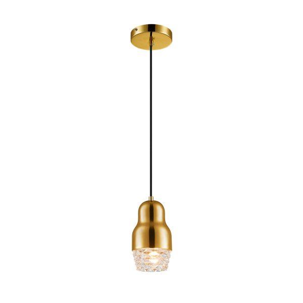 Pendente de Aço Dourado e Vidro Transparente Ø10cm 1x G9 PE-037/1.10DOU Mais Luz