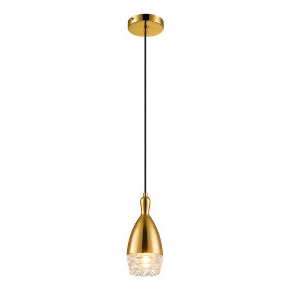 Pendente de Aço Dourado e Vidro Transparente Ø10cm 1x G9 PE-039/1.10DOU Mais Luz