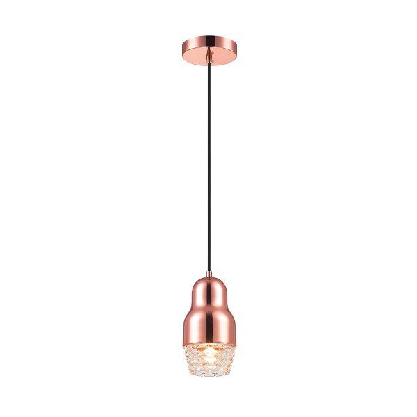 Pendente de Aço Ouro Rosé e Vidro Transparente Ø10cm 1x G9 PE-037/1.10OR  Mais Luz