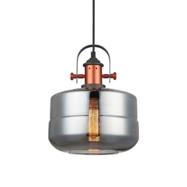 Pendente em Aço Bronze e Vidro Fumê Ø25cm 1x E-27 PE-041/1.25SMBRO Mais Luz