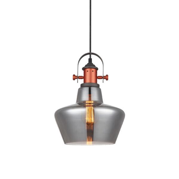 Pendente em Aço Bronze e Vidro Fumê Ø25cm 1x E-27 PE-042/1.25SMBRO  Mais Luz