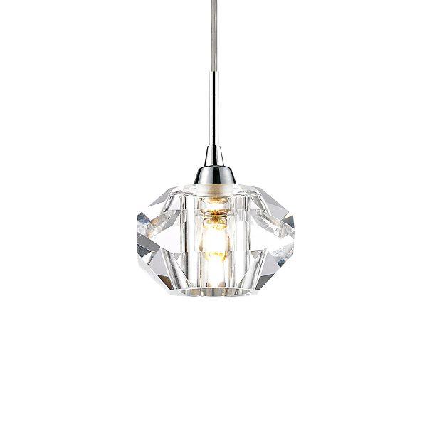 Pendente em Aço Cromado Cristal Translúcido Ø14cm 1x G9 PE-012/1.12CL  Mais Luz