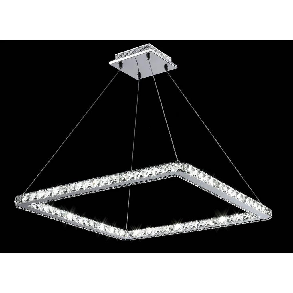 Pendente em Aço Cromado e Cristais Translúcidos C67cm LED 36W 3000K PE-004/36.67 Mais Luz