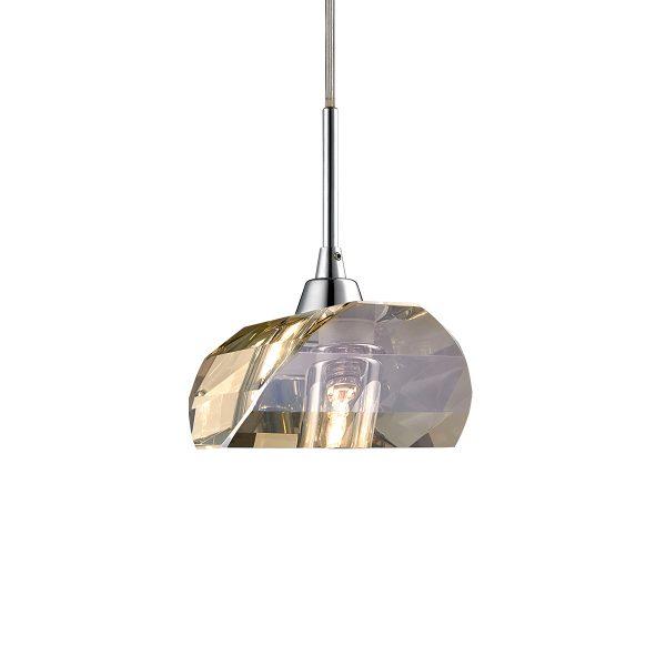 Pendente em Aço Cromado e Cristal Conhaque Ø14cm 1x G9 PE-013/1.9CO  Mais Luz