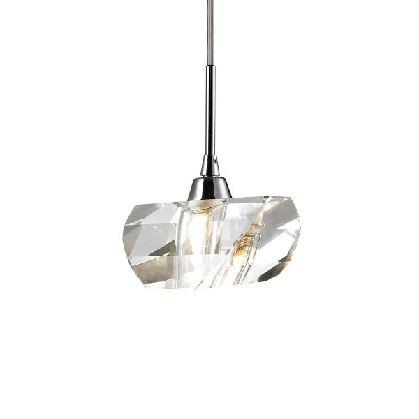Pendente em Aço Cromado e Cristal Translúcido Ø14cm 1x G9 PE-013/1.9CL  Mais Luz
