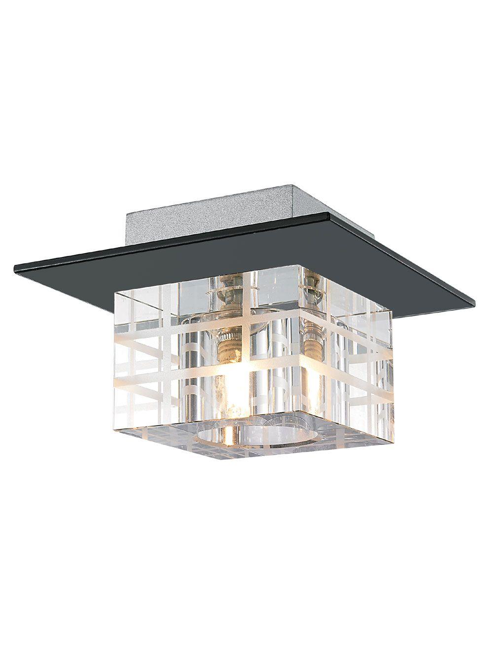 Plafon de Sobrepor em Aço, Cristal e Vidro Preto C15cm 1x G9 PL-014/1.15PT Mais Luz