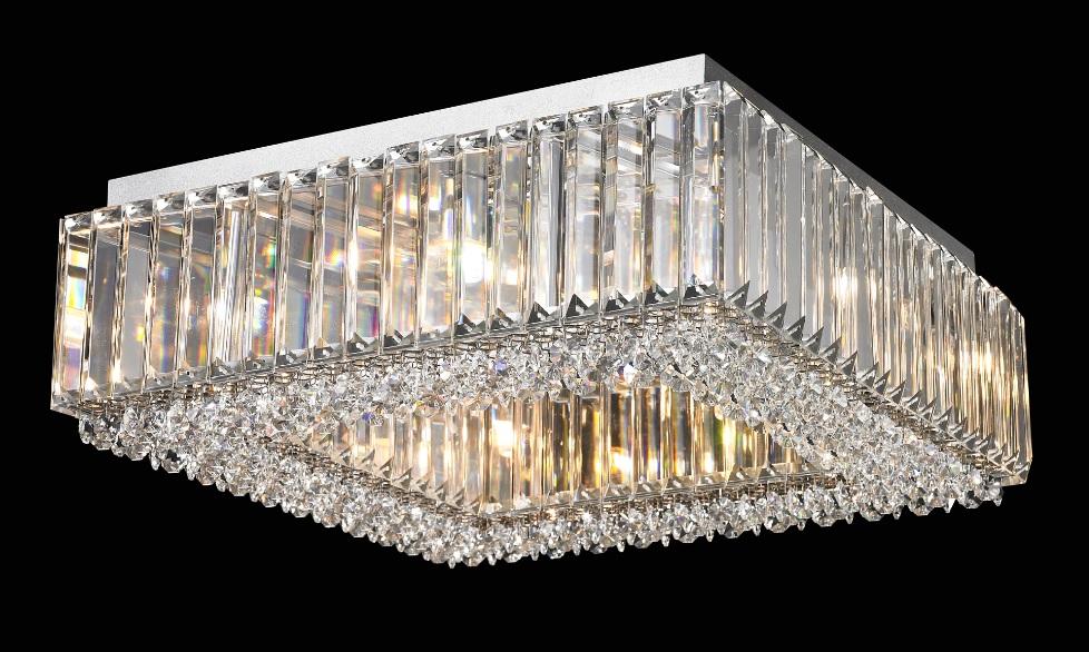 Plafon de Sobrepor em Aço Cromado e Cristais Translúcidos C60cm 12x G9 PL036/12.60CL  Mais Luz